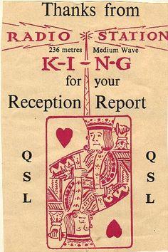 KING Radio 236 metres QSL card (a QSL card confirms reception of radio signals)