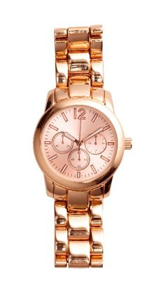 official photos 659ab 60e16 Gold metal watch with rose-colored face   luminous second hand.
