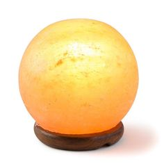[Hand Crafted] HemingWeigh Rock Salt Sphere Lamp 12 Cm with Wood Base, Electric Wire and Bulb Himalayan Salt Crystals, Himalayan Salt Lamp, Novelty Lighting, Silicone Baking Mat, Unique Lighting, Crystal Ball, String Lights, Lamp Light, Candle Holders