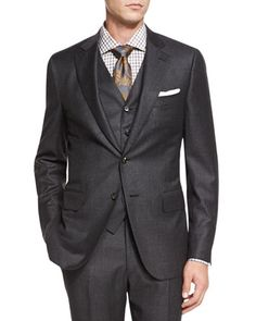 Micro-Check+Three-Piece+Suit,+Dark+Gray+by+Isaia+at+Neiman+Marcus.