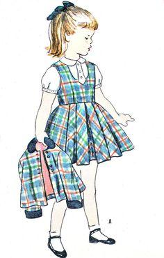 1950s Girls Dress Pattern Simplicity 8303 Pleated by paneenjerez, $10.00