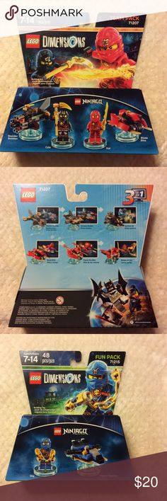 (2) Lego Dimensions Ninjago team pack and fun pack Lego Dimensions Ninjago team pack and fun pack combo. Pack Type: Team pack and fun pack  Compatible Platform(s): Xbox One|Xbox 360|PlayStation 4|PlayStation 3|Nintendo Wii U Compatible Game Series: Lego Dimensions Compatible Games: Lego Dimensions Lego Other