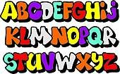 Clipart of Bright cartoon comic graffiti doodle font alphabet. Vector k20662244 - Search Clip Art, Illustration Murals, Drawings and Vector EPS Graphics Images - k20662244.eps