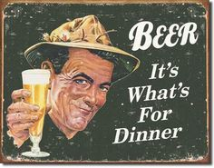 Beer for Dinner Tin Sign - Sam's Man Cave