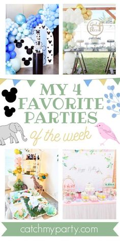 My favorite parties this week include a Mickey Mouse Bash, a rustic Holy Communion, a zoo party, and a bird-themed birthday party. See more party ideas and share yours at CatchMyParty.com Mickey Mouse Birthday Cake, Zoo Birthday, Mickey Mouse Parties, Mickey Party, Animal Birthday, Birthday Party Themes, Bird Party, Balloon Wall, Animal Decor