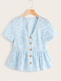 To find out about the Button Front Eyelet Embroidery Ruffle Hem Blouse at SHEIN, part of our latest Blouses ready to shop online today! Look Fashion, Fashion News, Fashion Outfits, Casual Dresses, Casual Outfits, Cute Outfits, Blouse Styles, Blouse Designs, Dressy Tops