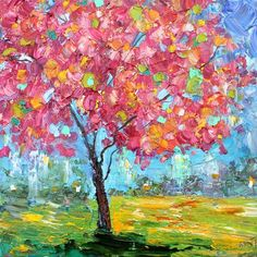 Spring Tree of Life painting original oil 12x12 abstract