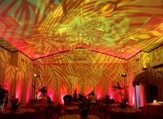 Try overlapping abstract design gobos for this awesome ceiling effect! Try overlapping Event Themes, Event Decor, Party Themes, Party Ideas, Wedding Reception Lighting, Event Lighting, Ceiling Effect, Havana Nights Party Theme, Salsa Night