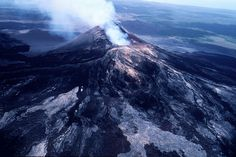 Credit: J.D. Griggs, USGS An aerial view of Pu'u O'o crater from the southeast on April 21, 1988.