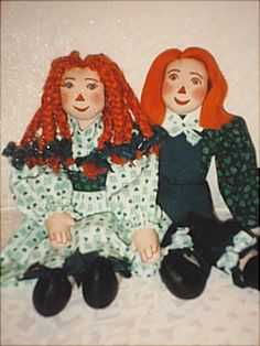 One of my original patterns.  My version of Raggedy Ann and Andy.  You will find this, and pages full of patterns for dolls, their clothing, stuffed animals, holidays....  http://barbspencerdolls.com .  Look in PATTERNS.