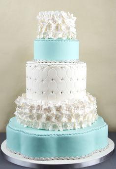 Baby Blue Quilting & Flowers Elegant Cake Picture
