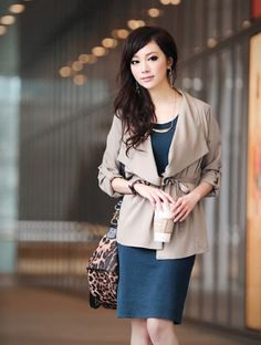 Fashion Solid Lapel Nipped Waist Women Blazer Coat Khaki on BuyTrends.com, only price $14.59