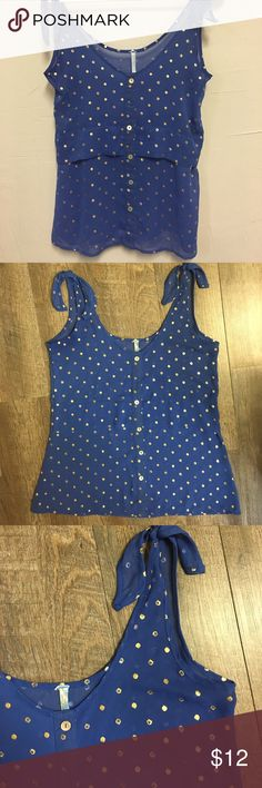 Blue with gold apples tank top Women's sheer blue with gold apples tank top. Medium. Tops Tank Tops