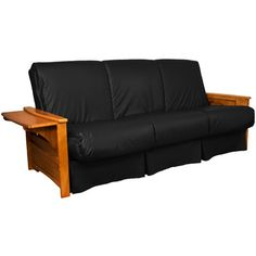 Valet Perfect Sit and Sleep Futon and Mattress Leather Type: Faux Leather - Black, Size: Queen, Finish: Medium Oak - http://delanico.com/futons/valet-perfect-sit-and-sleep-futon-and-mattress-leather-type-faux-leather-black-size-queen-finish-medium-oak-659775898/