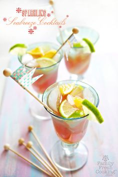Sparkling Sea Breeze Cocktail | FamilyFreshCooking.com You need this for Happy Hour!!