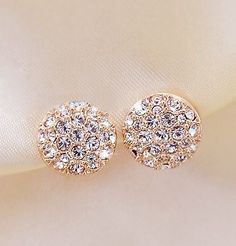 18KG Plated 2014 New Style Korean Elegant Gorgeous Sparking Rhinestone 18KGP Zircon Round Stud Earrings E3261