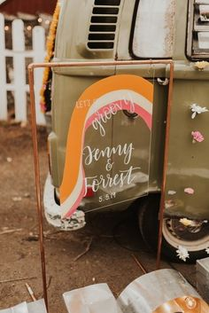 Groovy & Retro Elopement at Monadnock Berries in Troy, NH: Positive Vibes & Funky-Fresh Details - an Aisle Planner Wedding Styled Shoot. Wedding Shoot, Wedding Themes, Wedding Signs, Wedding Decorations, Wedding Ideas, Wedding Details, Rustic Wedding, Wedding Ceremony, Retro Wedding Inspiration