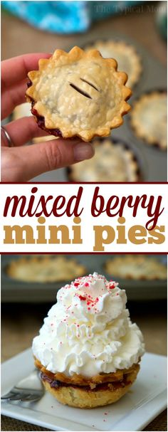 Mini mixed berry pies are cute, and delicious! Easy muffin tin hand pies that are packed with fresh berries and simple ingredients for the perfect dessert. via @thetypicalmom
