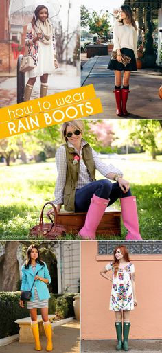Brighten up rainy spring days with a pair of stylish rain boots. Here are 19 ways our favorite bloggers wear their puddle jumpers. #Fashion #RainBoots