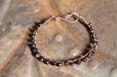 Garnet Bracelet Copper wire wrappedsize 78 by HavenHummingbird, $21.00