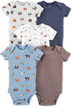 ae758bc65 Carter's Baby Boys 5-Pack Printed Cotton Bodysuits Striped Bodysuit, Baby  Bodysuit, Carters