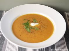 Sweet Potato and Carrot Soup - Winter Recipes for the 5:2 Diet - a warming spicy soup recipe with sweet potato, carrot, cumin and coriander or cilantro