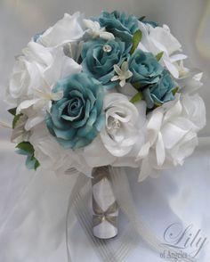 17pcs Wedding Bridal Bouquet Flower Bride Bridesmaid Maid Honor Groom AQUA TEAL