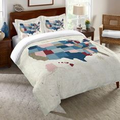 Laural Home® Modern Vintage Map Standard Pillow Sham in Blue - BedBathandBeyond.com