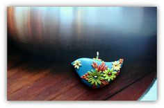 fimo bird with flowers
