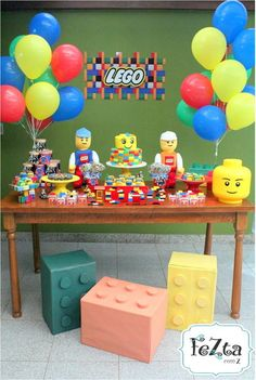 Lego Party Decorations, Lego Party Games, Lego Themed Party, Kids Party Themes, Lego Movie Birthday, 6th Birthday Parties, Boy Birthday, Bolo Lego, Lego Cake
