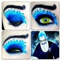 hades disney makeup look Disney Eye Makeup, Disney Inspired Makeup, Eye Makeup Art, Beauty Makeup, Fun Makeup, Awesome Makeup, Beauty Tips, Crazy Makeup, Pretty Makeup