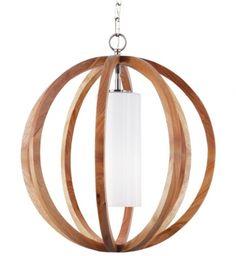 Feiss - Allier Light Wood & Brushed Steel 20.5 Inch Chandelier #led #wood #chandelier