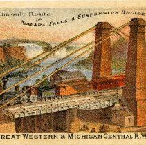 "Image of  ArtifactTrade card advertising the Great Western and Michigan Central Railway Line, with a color lithograph on the recto captioned, ""The only Route via Niagara Falls & Suspension Bridge."" 1866"
