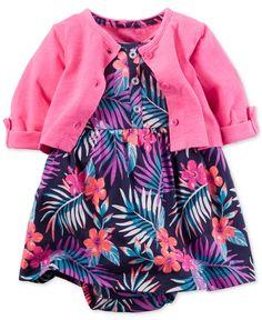 Carter's Baby Girls' 2-Piece Jungle Frond Bodysuit Dress & Cardigan Set