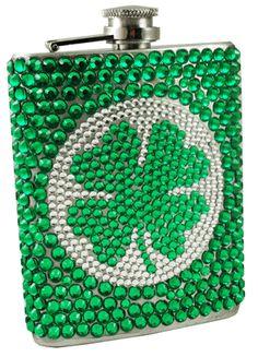 St. Patrick's Day Rhinestone Shamrock Flask (7 oz)