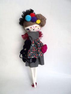 Rag doll handmade Catrina Day of the Dead - skull plush toy cloth art doll ooak