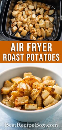 Try our Air Fryer Roast Potatoes recipe. It's really easy to make at home. How To Cook Potatoes, Garlic Roasted Potatoes, Roasted Potato Recipes, Air Fry Potatoes, Fried Potatoes, Air Fried Food, Baked Fish Fillet, Health Dinner