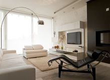 Modern living room with free standing lamp