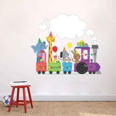 cik1773 Full Color Wall decal bedroom children's locomotive animals