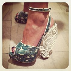 Around The Store: Charlotte Olympia foliage-print wrought iron heels.