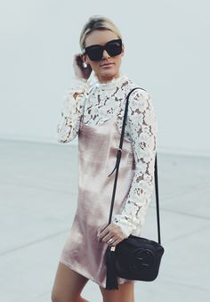 lace top under a satin slip dress.   IG: @sosageblog