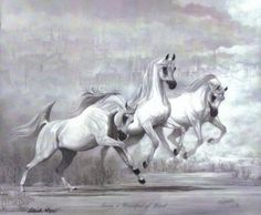 Gray-stallion-mare-fantasy-scene-arabian-horse-art-print-SHIVAK-art-Handful-Wind