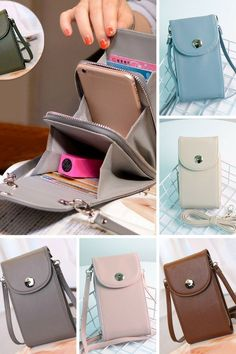 Vintage PU Leather Universal Shoulder Phone Bag For iPhone Samsung Huawei Xiaomi phone accessories Purses And Handbags, Leather Handbags, Leather Wallet, Pu Leather, Leather Bag Pattern, Bags Travel, Bag Women, Stylish Backpacks, Diys