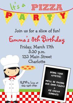 pizza party invitation - pizza birthday party -- girl or boy -- You print or I print. $12.00, via Etsy.