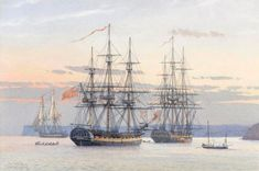 The Frigates Aquilon (32) and the Pallas 3(2) at anchor in Tor Bay, 1795.  Derek Gardner