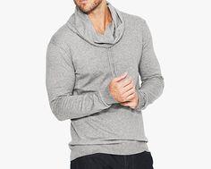 Men's Grey Cowl Neck Jumper