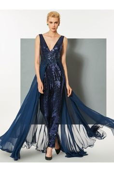 8902f1a16621f dresswe.com Offers High Quality Sheath V Neck Sequin Evening Jumpsuit With  Train