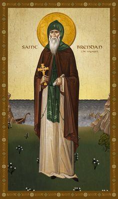 Icon of St. Brendan the Voyager - c. Thing 1, St Brendan, Saints, Religion, Find Icons, Byzantine Icons, Religious Studies, Orthodox Christianity, Catholic Art