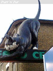 Catford in the south-east borough of Lewisham has a giant fibreglass cat that guards the entrance to a shopping centre called the Catford Centre. Seems to date from the1970s