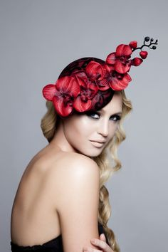 Emma Brown Couture Millinery  - Scarlett - Cascading red orchid flower headpiece with black lace.